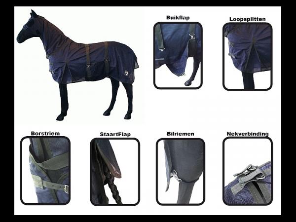 Vliegendeken Paard Compleet HHS Donkerblauw