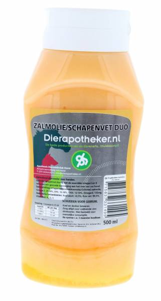Zalmolie/Schapenvet Duo Dierapotheker.nl Doseerflacon 500 ml