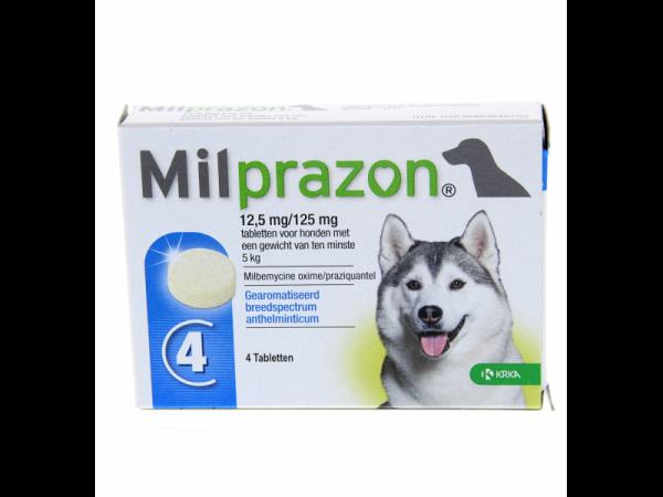 Milprazon Grote Hond 12.5 mg 4 tabletten