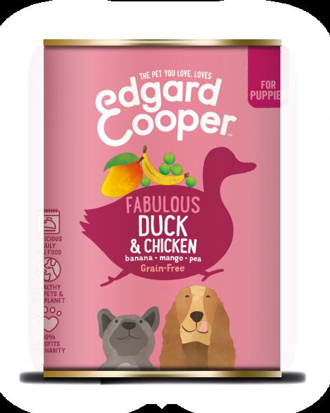 Edgard & Cooper Puppyvoer Blikjes Eend en Kip 6 x 400 gram