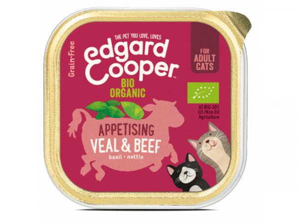 Edgard & Cooper Adult Kattenvoer Biologische Kuipjes Rund en Kalf 19 x 85 gram