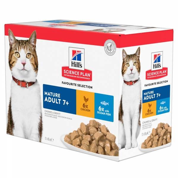 Hill's Science Plan Mature Adult 7+ Kattenvoer Maaltijdzakjes 12 x 85 gram