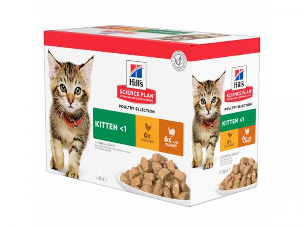 Hill's Science Plan Kittenvoer Kip Kalkoen Maaltijdzakjes 12 x 82 gram