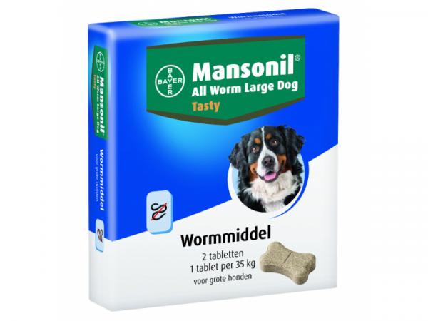 Bayer Mansonil All Worm Grote Hond 2 tabletten