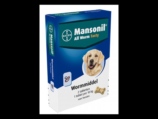 Mansonil All Worm Dog Tasty Bone Ontwormingstabletten Hond