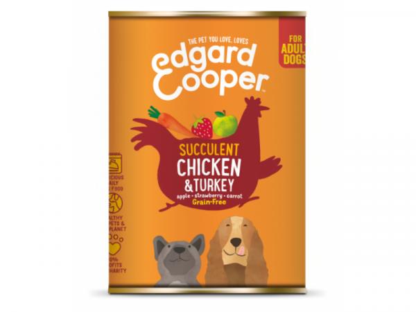 Edgard & Cooper Adult Blikjes Kip & Kalkoen 6 x 400 gram